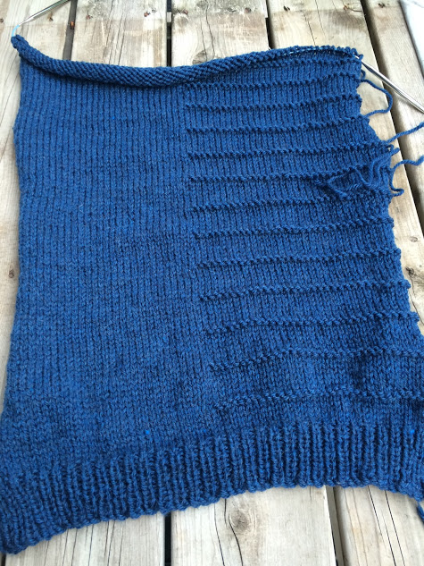 In this shot I'm just ready to do a few rows fro the arm shaping and then about 12 rows of decrease for the shoulder shaping. This is the front basically done though.