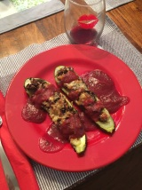 Plated Zuccanoes with Beet Puree - Super yummy!
